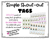 Simple Shout Outs:  Printable Tags to Celebrate Student Success