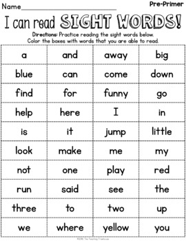 Simple Sight Word Activity