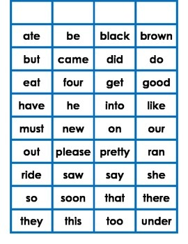 Simple Sight Word Cards