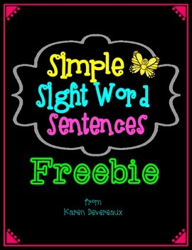 Simple Sight Word Sentences FREEBIE