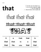 Simple Sight Word Worksheets