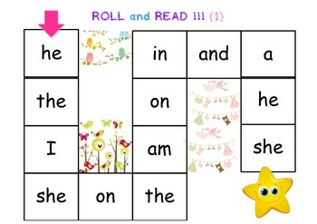 Simple Sight Words Game : Roll and Read