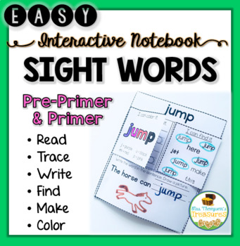 Simple Sight Words Interactive Notebook PRE-PRIMER