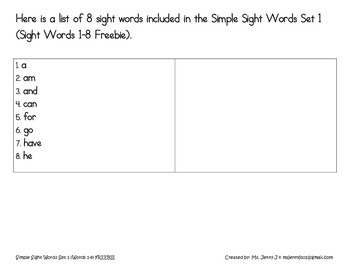Simple Sight Words Set 1 (Sight Words 1-8) Freebie