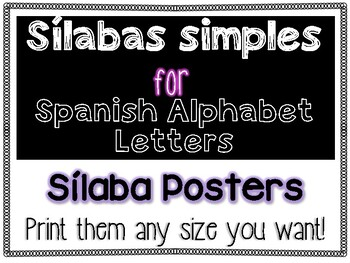Simple Sílabas Full Page Posters for Spanish Alphabet Letters