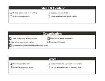 Simple Six Traits of Writing Sundae Cards