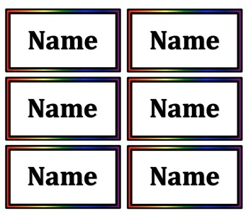 Simple Small Rainbow Name Tags