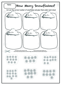 Simple Snowflake Addition Printable Activity Worksheet (Cut and Paste)