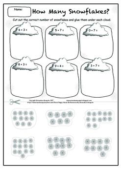 Simple Snowflake Addition Printable Activity Worksheet (Cu
