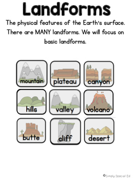 Simple Social Studies: Geography Landforms Workbook