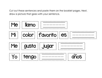 Simple Spanish Sentences sort and cut out