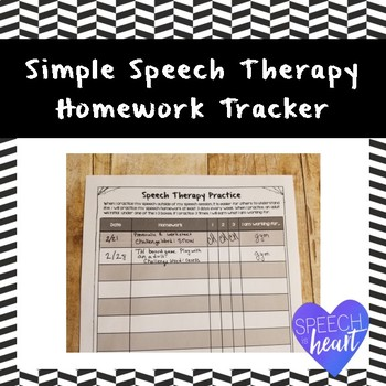 Simple Speech Therapy Homework Tracker