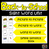 Back to School Unit Sight Word Book Kit