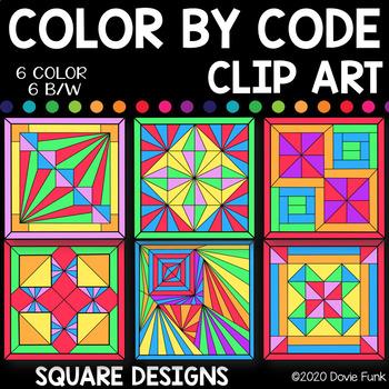 Simple Square Designs Color by Code Clip Art