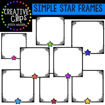 Simple Star Frames {Creative Clips Digital Clipart}