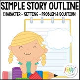 Simple Story Outline / Graphic Organizer: Problem, Steps to Solve, & Solution