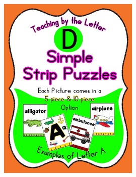 Simple Strip Puzzles - Teaching by the Letter - Focus Letter D