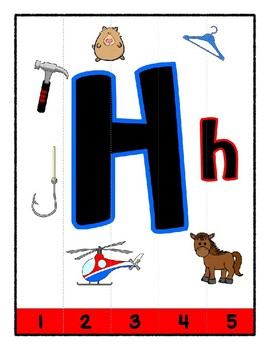 Simple Strip Puzzles - Teaching by the Letter - Focus Letter H