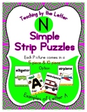 Simple Strip Puzzles - Teaching by the Letter - Focus Letter N
