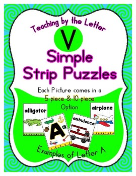 Simple Strip Puzzles - Teaching by the Letter - Focus Letter V