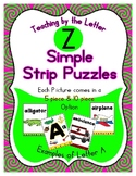 Simple Strip Puzzles - Teaching by the Letter - Focus Letter Z