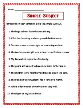 Simple Subject - 3 pages of 10 questions per page. Common Core