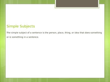 Simple Subject Grammar Powerpoint with history facts