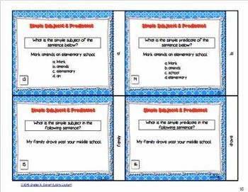 Simple Subject & Predicate Task Cards