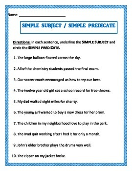 Simple Subject & Simple Predicate on same worksheet.