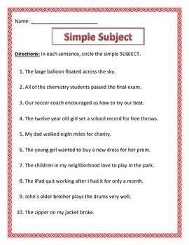 Simple Subject & Simple Predicate.Common Core.