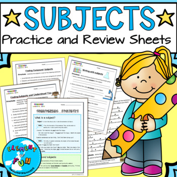 Finding Subjects Review worksheets and study guides - with SCIENCE INTEGRATION!