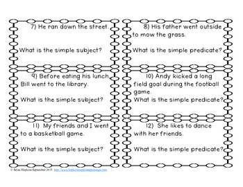 Simple Subject and Predicate Task Cards