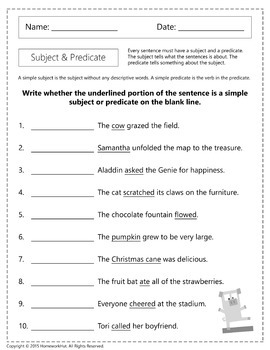 L.4.1.F - Simple Subject and Predicate Worksheets