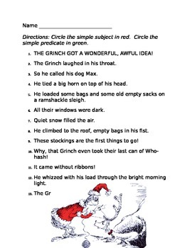 Simple Subject and Predicate with The GRINCH