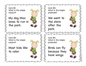 Simple Subject and Simple Predicate SCOOT Game!  Grades 2-4