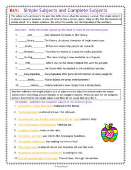 Simple Subjects and Complete Subjects Worksheet