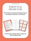 Simple Subjects and Simple Predicates Task Cards