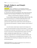 Simple Subjects and Simple Predicates Worksheet