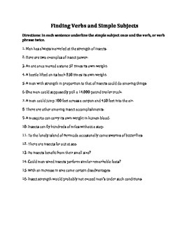 Finding Verbs and Simple Subjects Worksheet with Answer Key