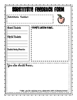 Simple Substitute Feedback Form