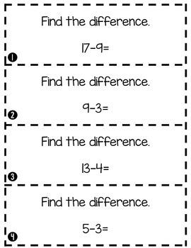 Simple Subtraction Center Strips