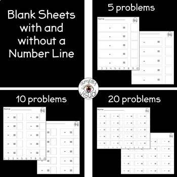 Simple Subtraction File Folder Activity and Blank Subtraction Printables
