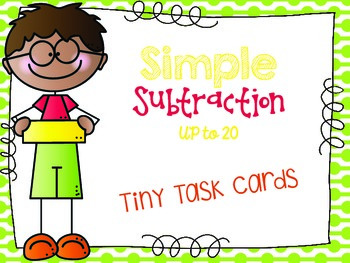 Simple Subtraction From 20 or Less Tiny Task Cards
