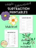 Simple Subtraction Printables