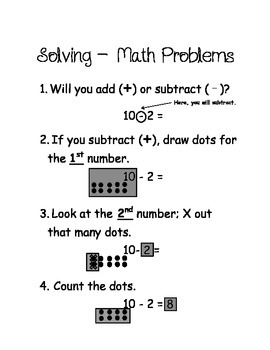 Simple Subtraction Step by Step Visual Process Poster or Handout for Math