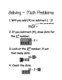 Simple Subtraction Step by Step Visual Process Poster or H