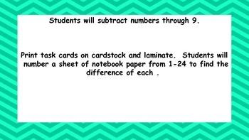 Simple Subtraction Task Cards