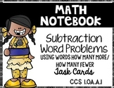 Simple Subtraction Word Problems Edition 2:  Math Notebook CCS.1.OA.A.1