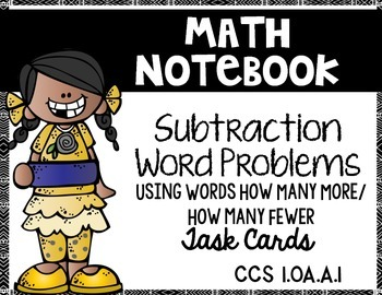 Simple Subtraction Word Problems Edition 2:  Math Notebook