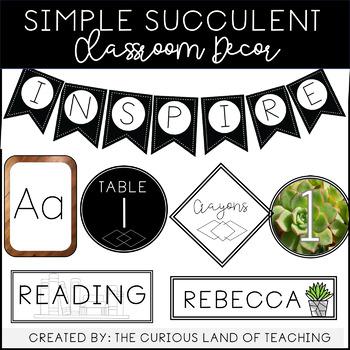 Simple Succulent Classroom Decor